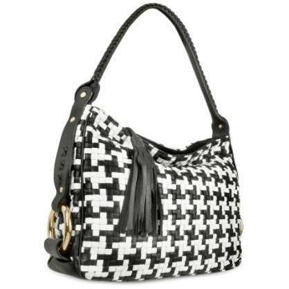 Fontanelli Handtasche aus Leder mit schwarz & weissem Webmuster