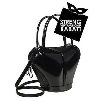 Fontanelli Handtasche in dramatischem Schwarz aus poliertem italienischem Leder
