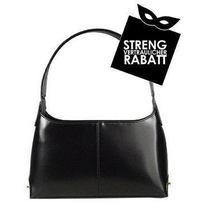 Fontanelli Klassische schwarze Handtasche aus italienischem Leder