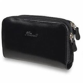 Fontanelli Schwarze Brieftasche aus poliertem Leder