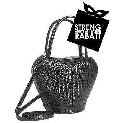 Fontanelli Schwarze Handtasche mit Krokoprägung