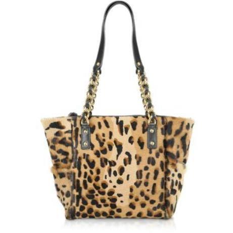 Fontanelli Shopper aus Kalbshaar mit Leopardenmuster