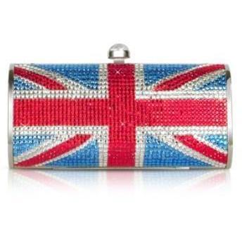 Forzieri Abendclutch mit englischer Flagge aus Strasssteinen