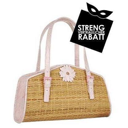 Forzieri Capaf Handtasche in Babyrosa aus Weidenkorbmaterial und Leder