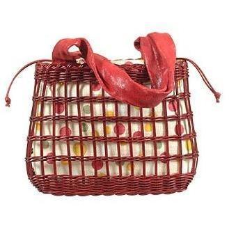 Forzieri Capaf Kirschrote Eimertasche aus Weidenkorbmaterial und Leder