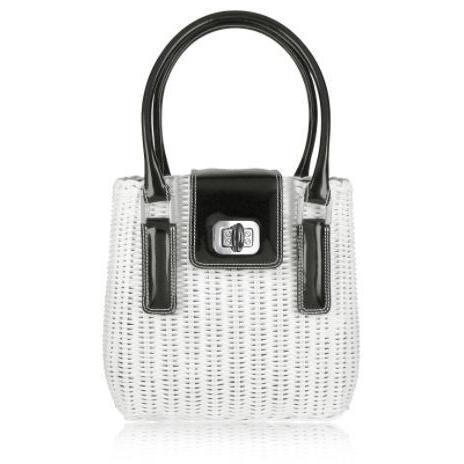 Forzieri Capaf Line Handtasche aus Korb in schwarz & weiss