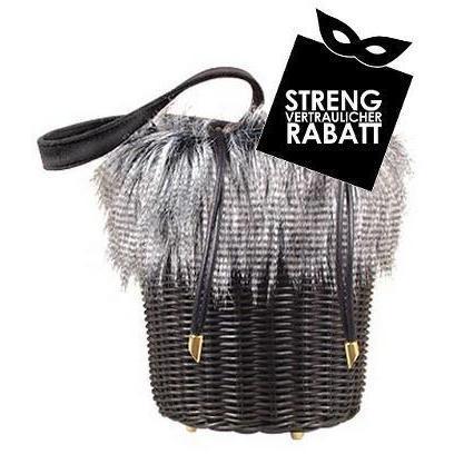 Forzieri Capaf-Linie Handtasche aus Weidenkorbmaterial und Kunstpelz