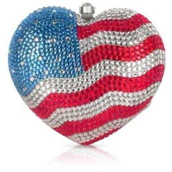 Forzieri Clutch in Herzform mit Us Flagge aus Edelsteinen