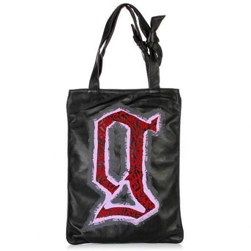 Galliano Black Leather Shopper N-S Print red/pink