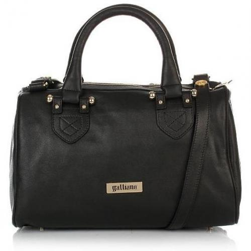 Galliano Leather Satchel Black