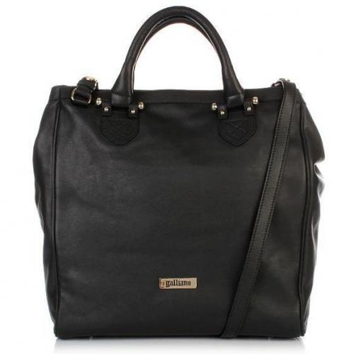 Galliano Leather Shopper N-S black