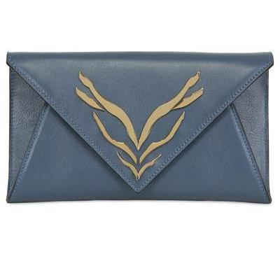 George Angelopoulos - Iss< Leder Clutch Mit Gold Plaque Clutch