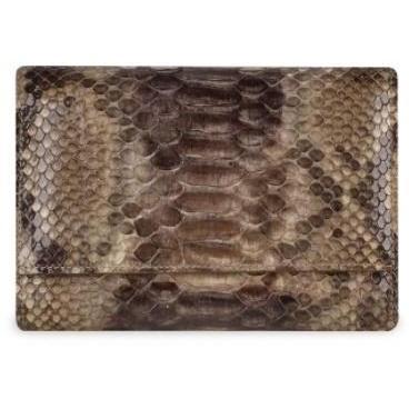Ghibli Damen Brieftasche aus Kalbs und Pythonleder mit ID-Fenster in braun