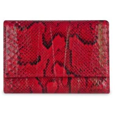 Ghibli Damen Brieftasche mit ID-Fenster aus Python und Kalbsleder in rot