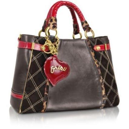 Ghibli Grosse gesteppte Handtasche aus Wildleder und Leder mit roten Lackgriffen