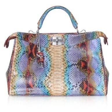 Ghibli Handtasche aus buntem Pythonleder
