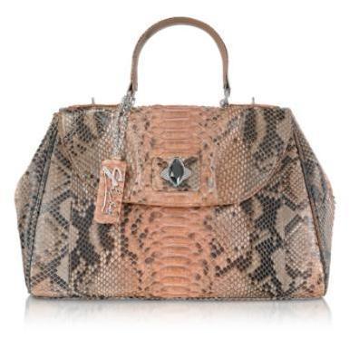 Ghibli Satchel-Tasche aus Pythonleder in pink