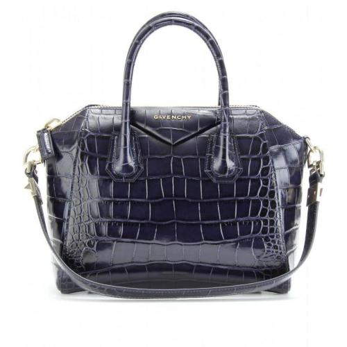 Givenchy Antigona Small Ledertasche Kroko Optik Blau