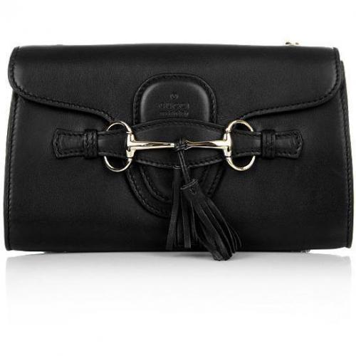 Gucci Press-Lock Fringed Black Shoulder Bag