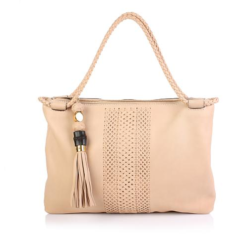 Gucci Medium Tote Weaved Leather Sand