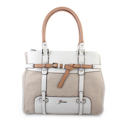 Guess Avera Canvas Medium Satchel White Multi