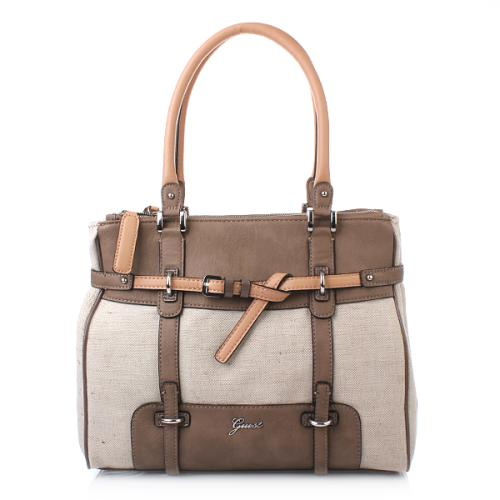 Guess Avera Canvas Medium Satchel Taupe Multi
