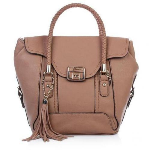 Guess Gerri Flap Satchel Tan