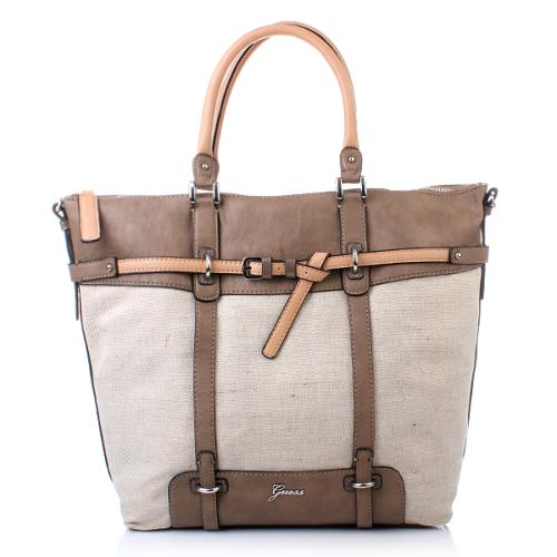 Guess Avera Canvas Tote Taupe Multi