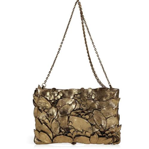 Hoss Intropia Antique Gold Crunch Leather Sculptural Clutch