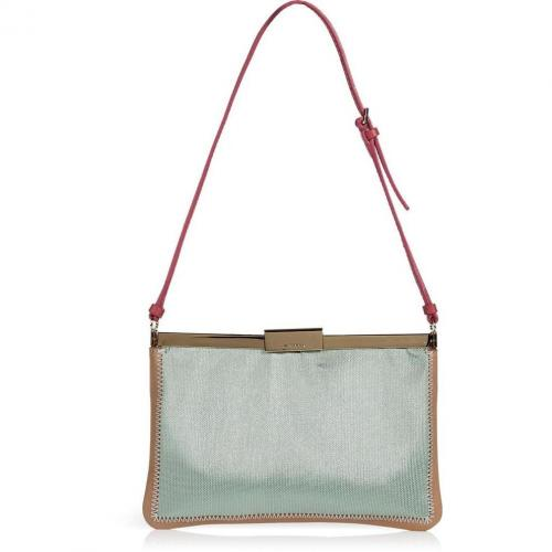 Jil Sander Mint/Powder Fabric/Leather Shoulder Bag