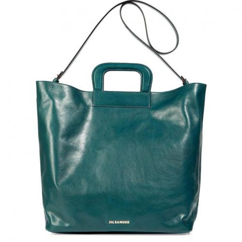 Jil Sander Petrol and Mandarin Calf Leather Tote