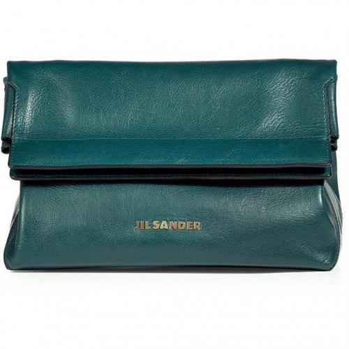 Jil Sander Petrol Fold Over Clutch