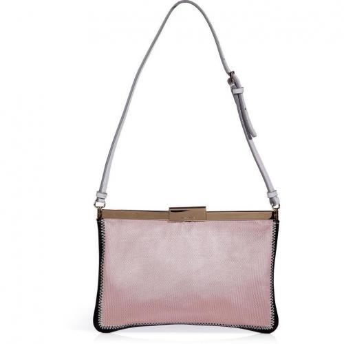 Jil Sander Rose/Black Fabric/Leather Shoulder Bag