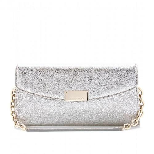 Jimmy Choo Riane Metallic-Lederclutch