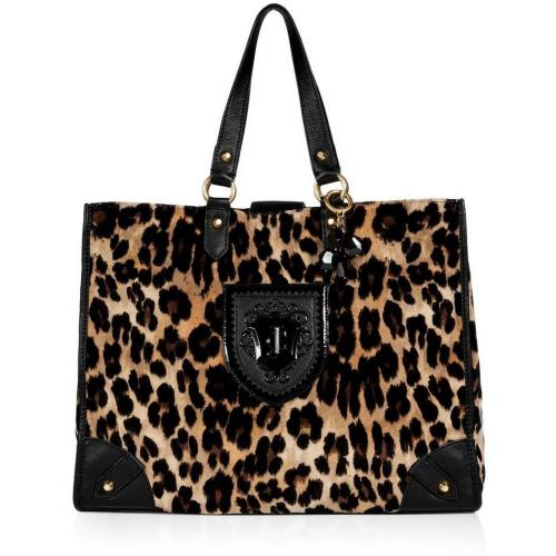 Juicy Couture Camel Leopard Velour Nicola Tote