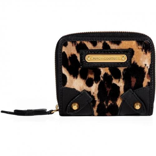 Juicy Couture Camel Leopard Velour Small French Purse
