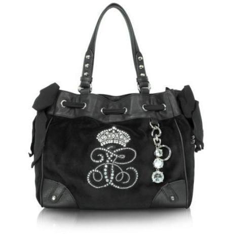 Juicy Couture Daydreamer - Umhängetasche aus schwarzem Samt