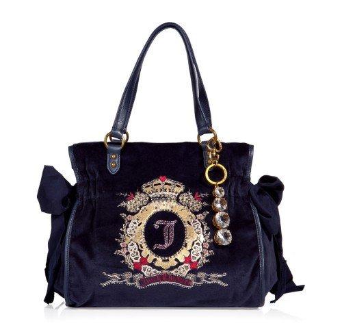 Juicy Couture Blaue Velvet Tasche mit Kristallen