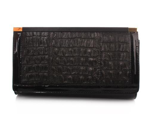 Kaviar Gauche Tasche Kroko Envelope Black/Gold Mix Printed