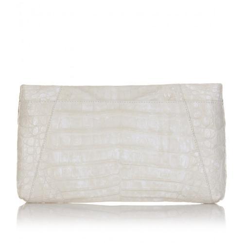 Nancy Gonzalez Krokoleder Clutch Weiß