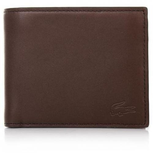 Lacoste Large Billfold+ Coin Brown Leather