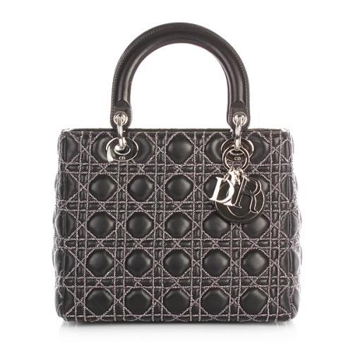 Christian Dior Lady Dior Black Silver Twine
