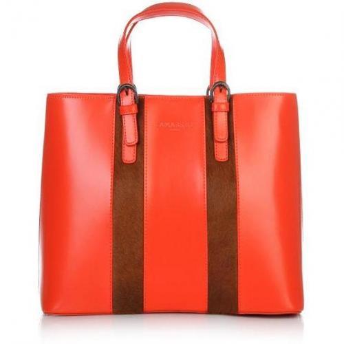 Lamarthe Portofino Lux Small Zip Hand Carry Basket Bag Mandarino
