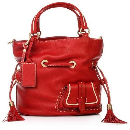 Lancel Flirt Bucket Bag Red