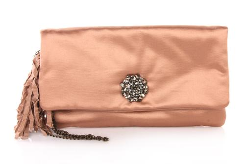 Lanvin Ouloulette Satin Clutch Rose