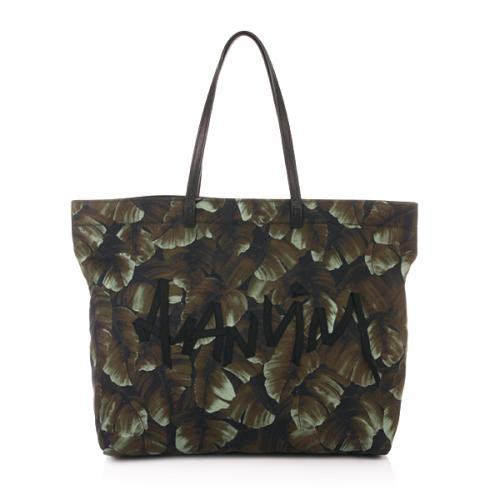 Lanvin Shopping Cotton Bag Printed Grün
