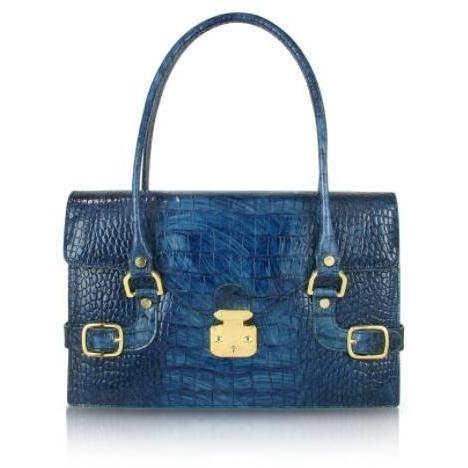 L.A.P.A. Handtasche aus italienischem Leder mit Krokoprägung in Indigoblau Eckig