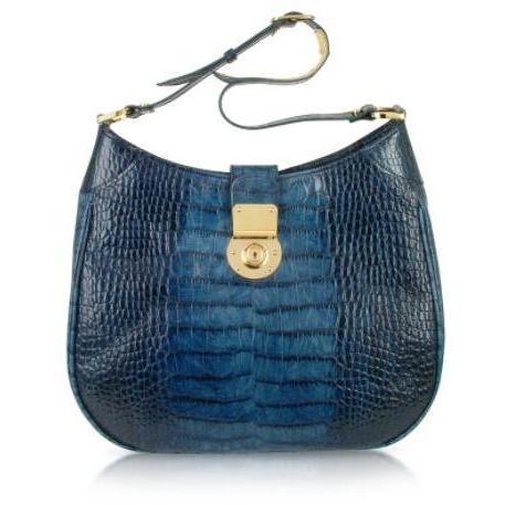 L.A.P.A. Handtasche aus italienischem Leder mit Krokoprägung in Indigoblau Rund