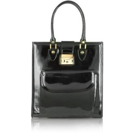 L.A.P.A. Handtasche aus Lackleder Schwarz