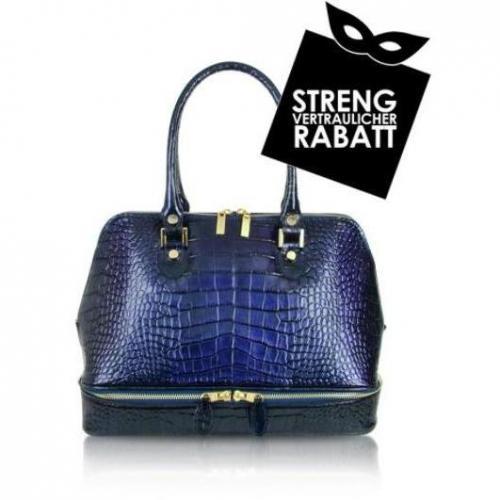L.A.P.A. Handtasche aus purpurfarbenem, kroko-geprägtem Lackleder im Bowlingstyle